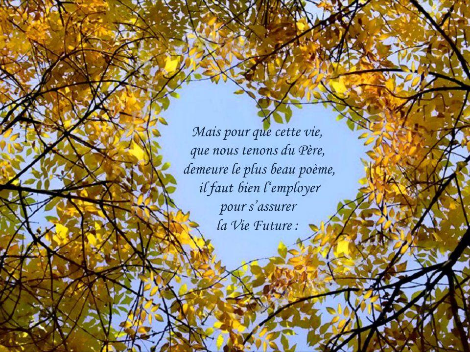 Mais pour que cette vie, que nous tenons du Père, demeure le plus beau poème, il faut bien l'employer pour s'assurer la Vie Future :
