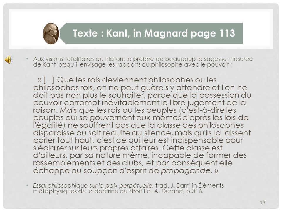 Texte : Kant, in Magnard page 113