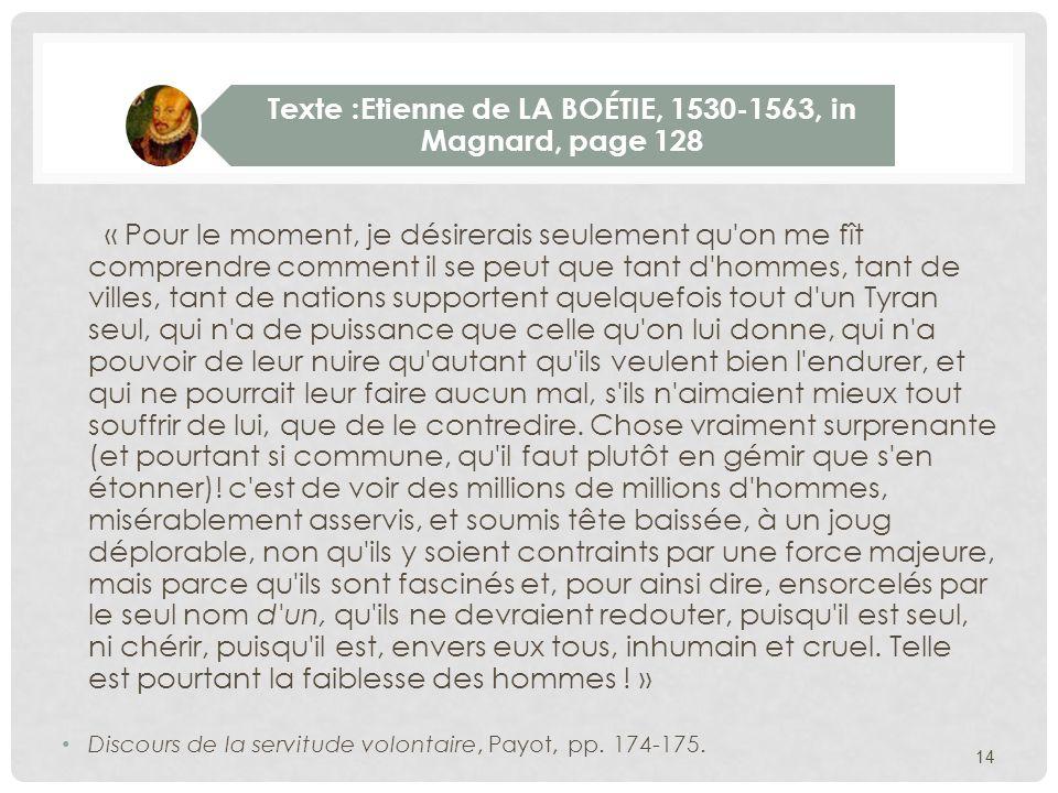 Texte :Etienne de LA BOÉTIE, 1530-1563, in Magnard, page 128
