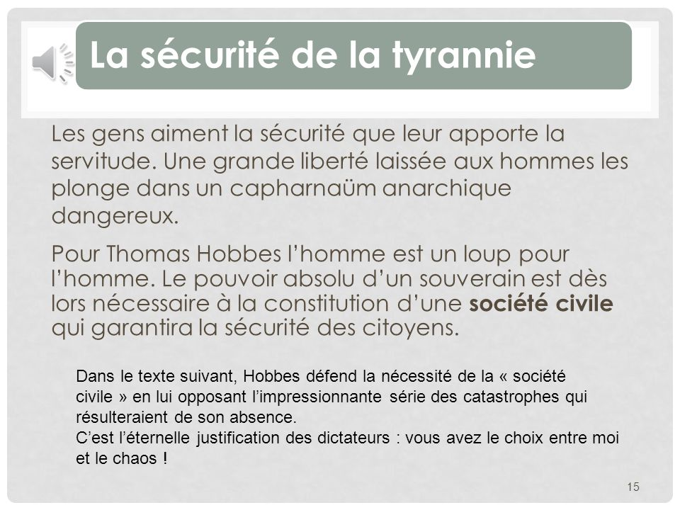 La sécurité de la tyrannie