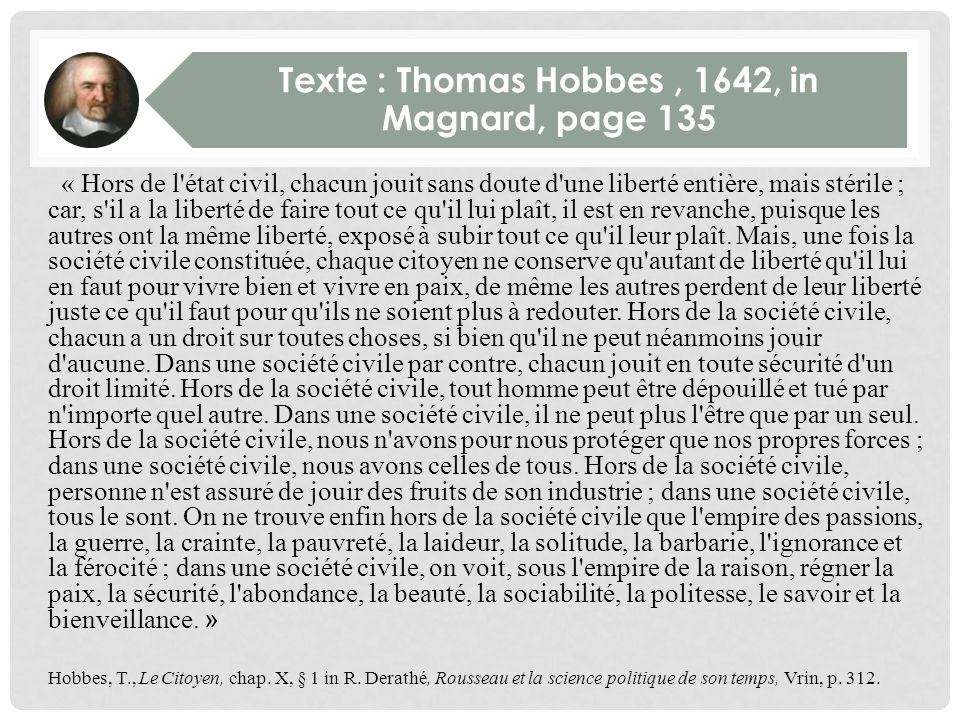 Texte : Thomas Hobbes , 1642, in Magnard, page 135