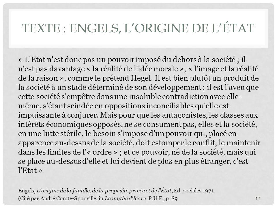 Texte : Engels, L'origine de l'État