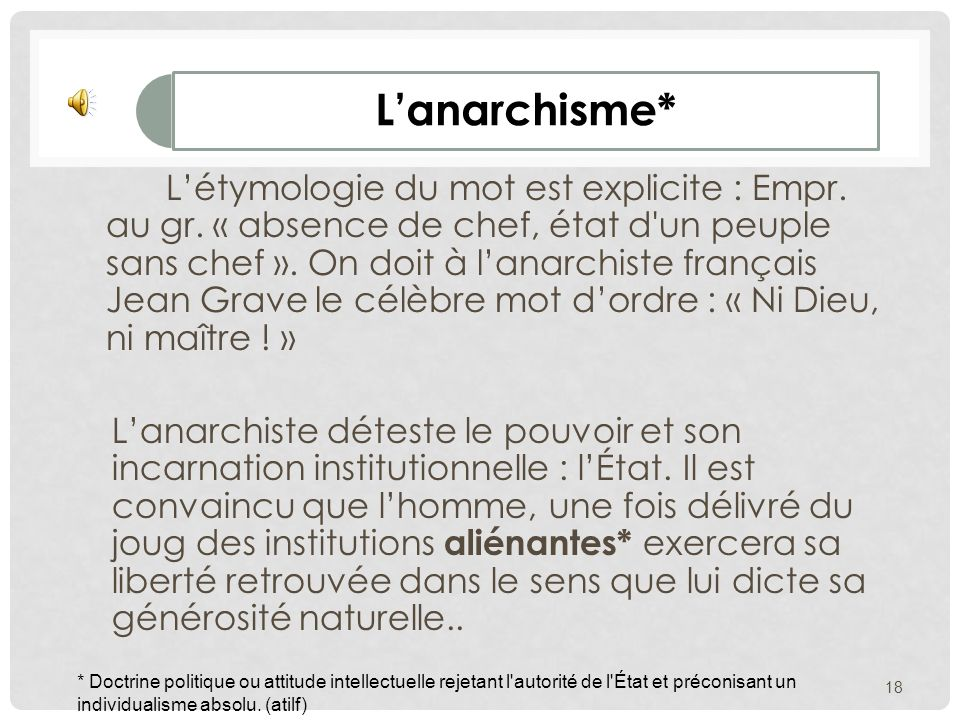 L'anarchisme*