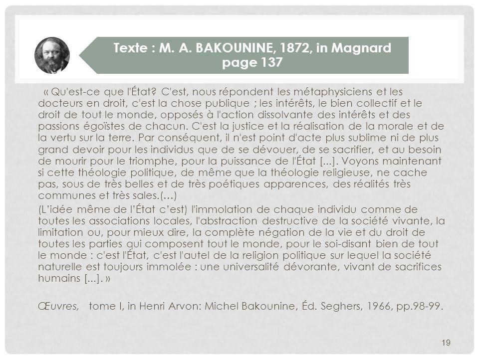 Texte : M. A. BAKOUNINE, 1872, in Magnard page 137
