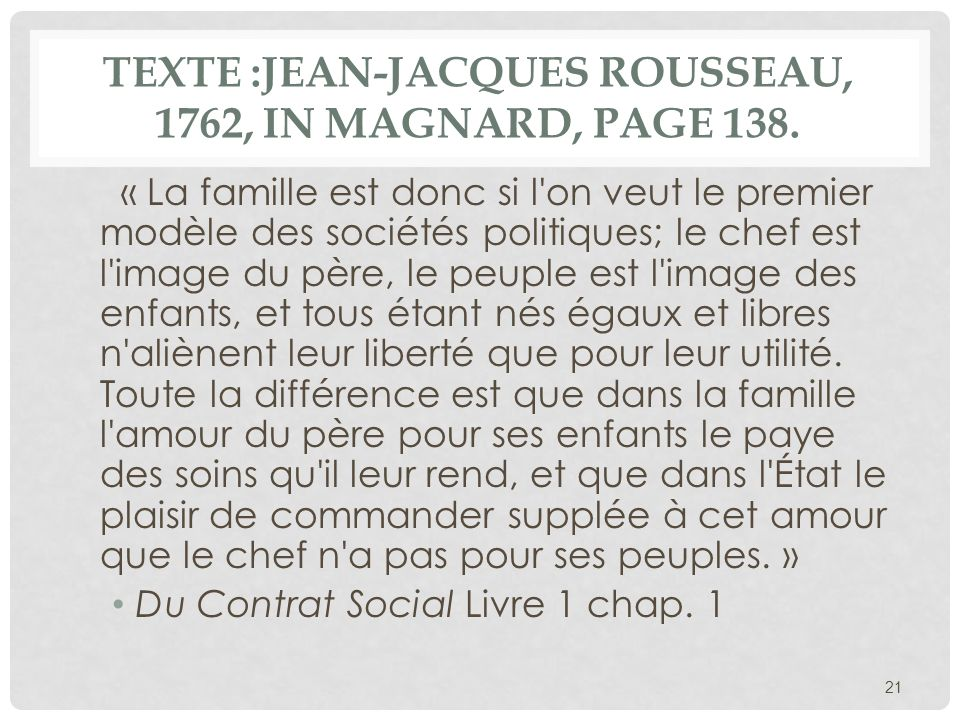 Texte :Jean-Jacques ROUSSEAU, 1762, in Magnard, page 138.