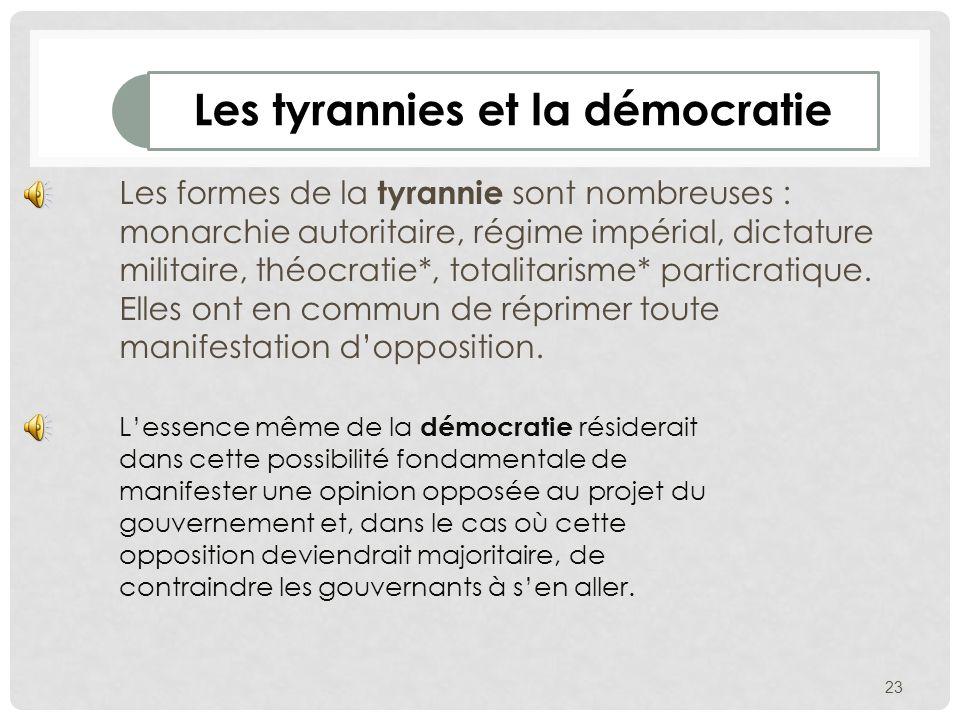 Les tyrannies et la démocratie