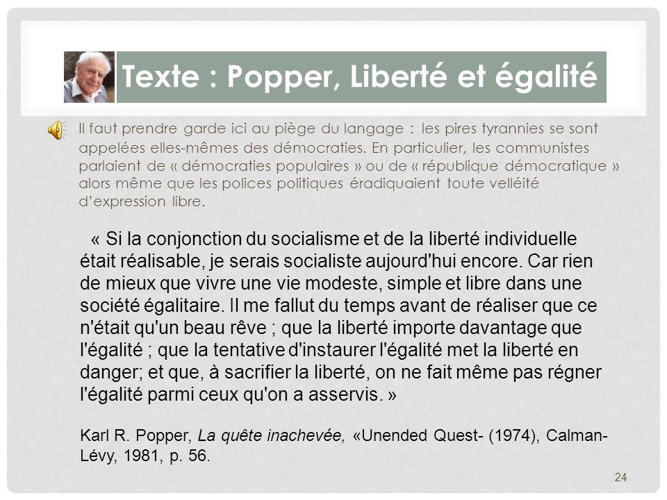 Texte : Popper, Liberté et égalité