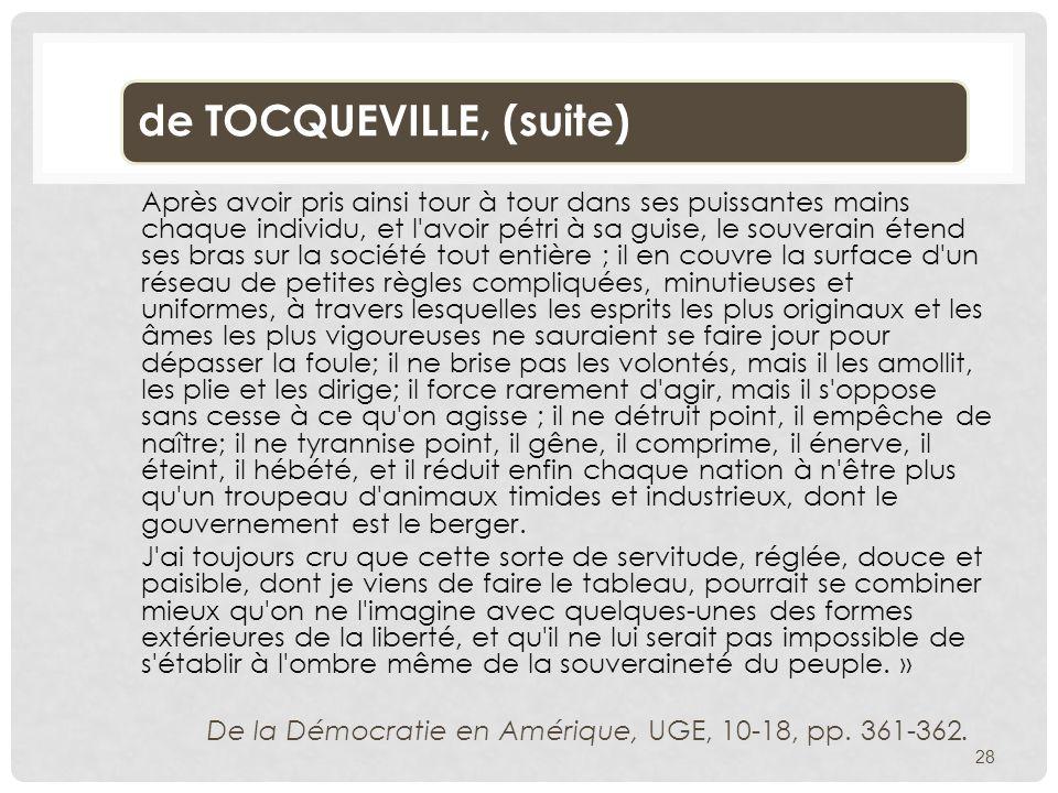 de TOCQUEVILLE, (suite)