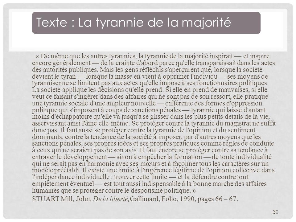 Texte : La tyrannie de la majorité