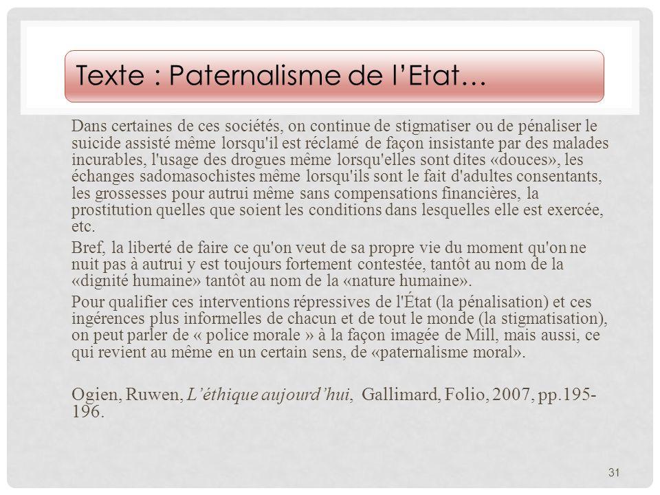 Texte : Paternalisme de l'Etat…
