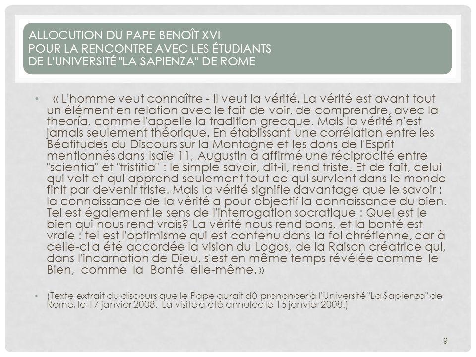 ALLOCUTION DU PAPE BENOÎT XVI POUR LA RENCONTRE AVEC LES ÉTUDIANTS DE L UNIVERSITÉ LA SAPIENZA DE ROME