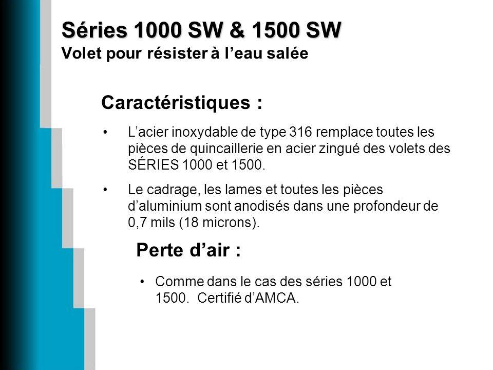 Séries 1000 SW & 1500 SW Volet pour résister à l'eau salée