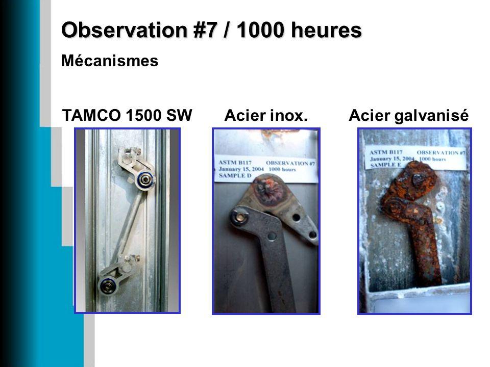 Observation #7 / 1000 heures Mécanismes Acier galvanisé Acier inox.