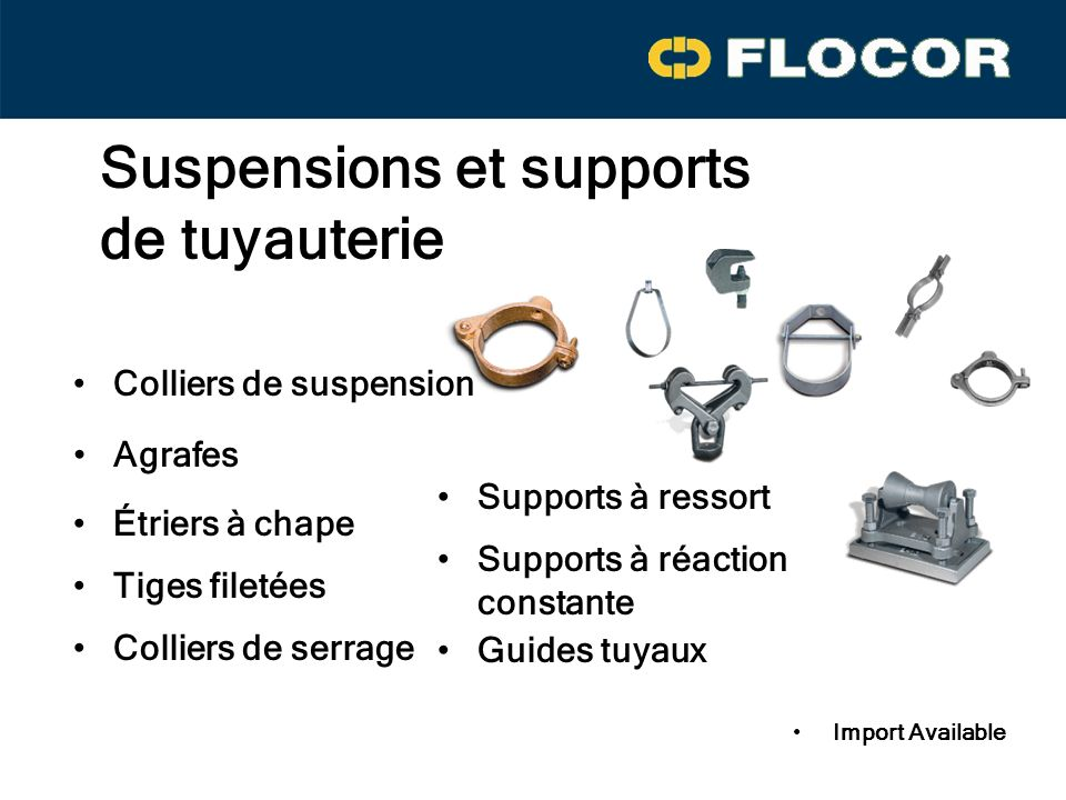 Suspensions et supports de tuyauterie