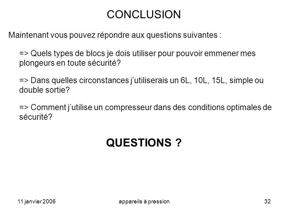 CONCLUSION Maintenant vous pouvez répondre aux questions suivantes :