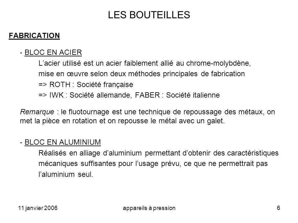 LES BOUTEILLES FABRICATION - BLOC EN ACIER