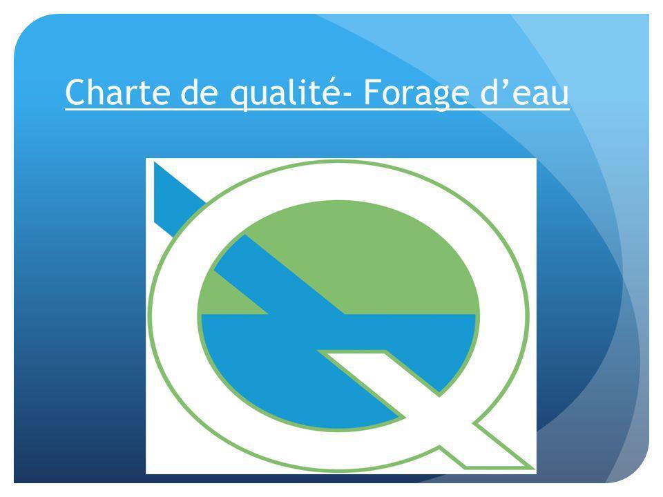 Charte de qualité- Forage d'eau