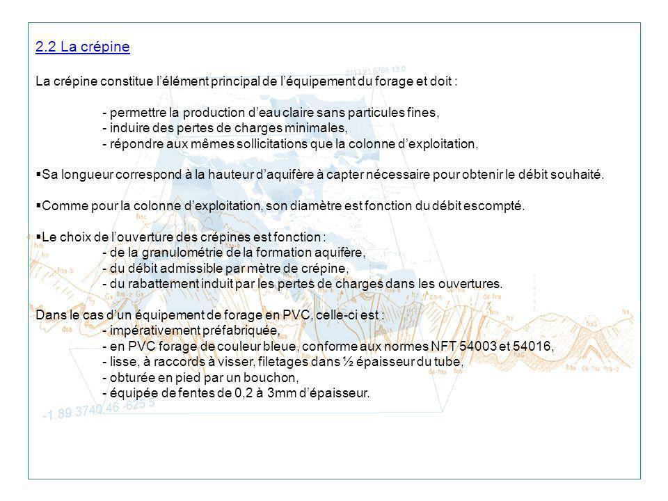 2.2 La crépine La crépine constitue l'élément principal de l'équipement du forage et doit :