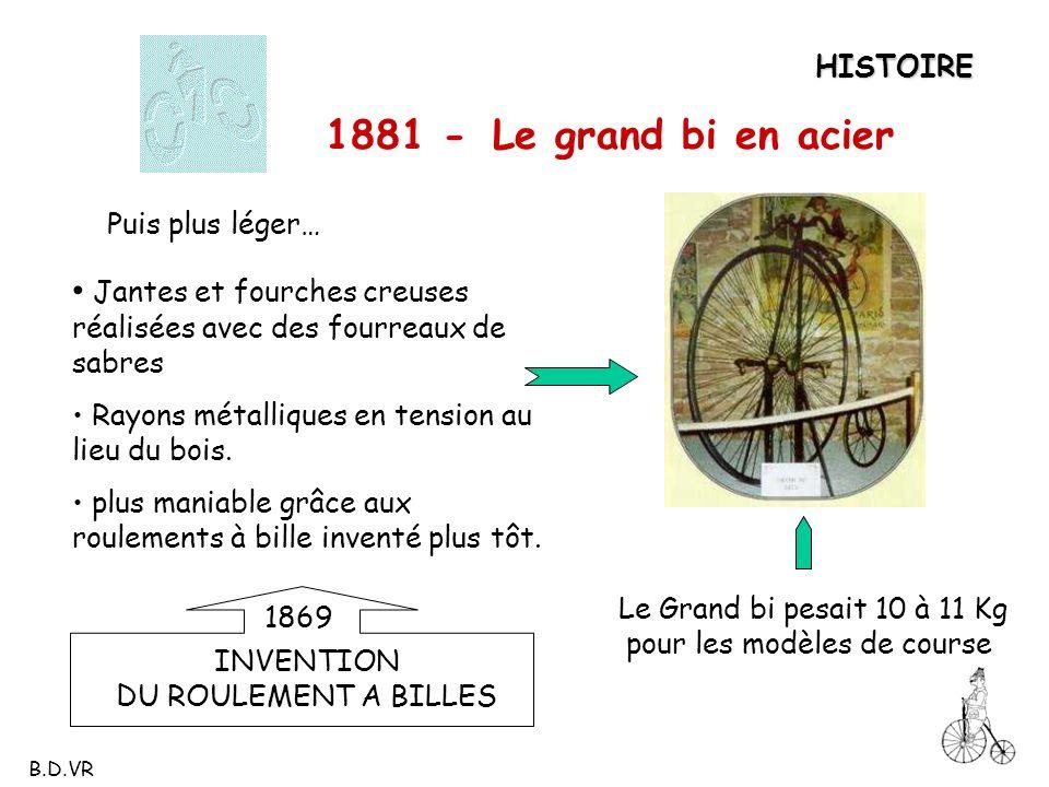 HISTOIRE 1881 - Le grand bi en acier. Puis plus léger… Jantes et fourches creuses réalisées avec des fourreaux de sabres.