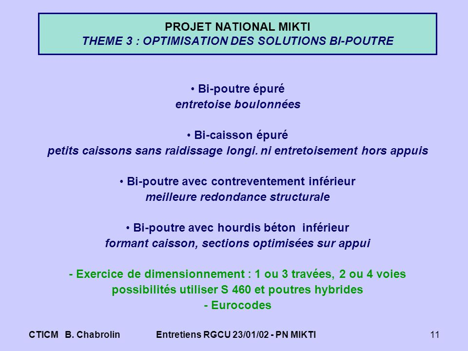 PROJET NATIONAL MIKTI THEME 3 : OPTIMISATION DES SOLUTIONS BI-POUTRE