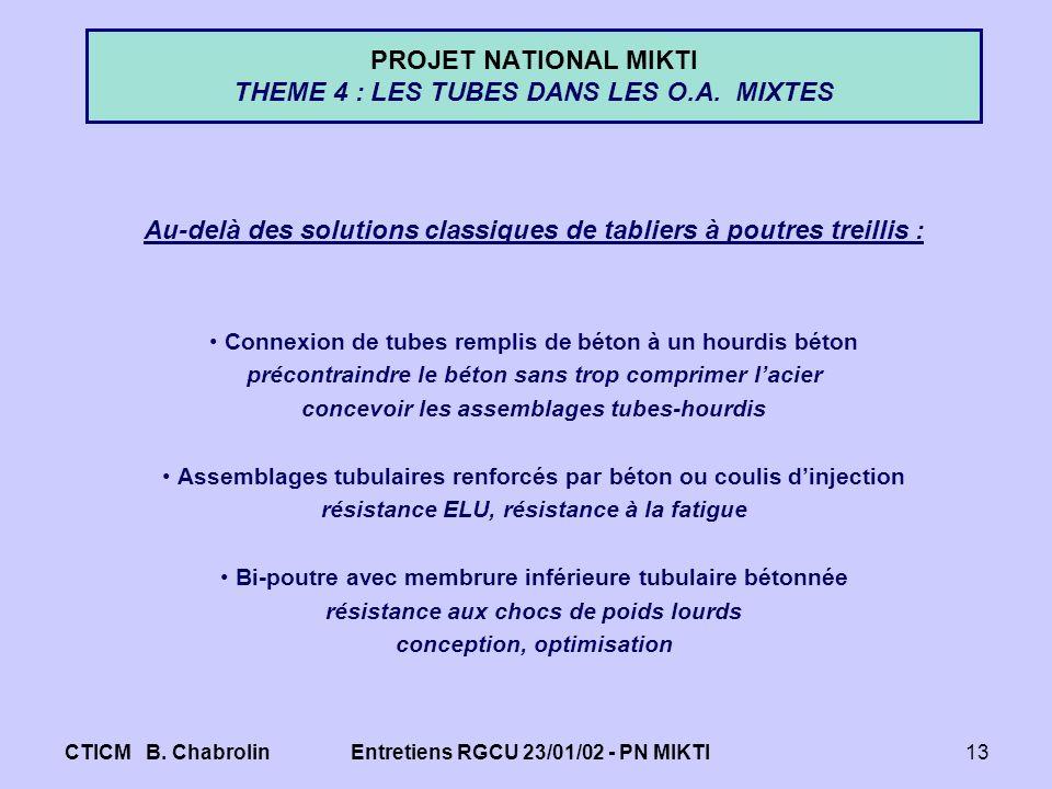 PROJET NATIONAL MIKTI THEME 4 : LES TUBES DANS LES O.A. MIXTES