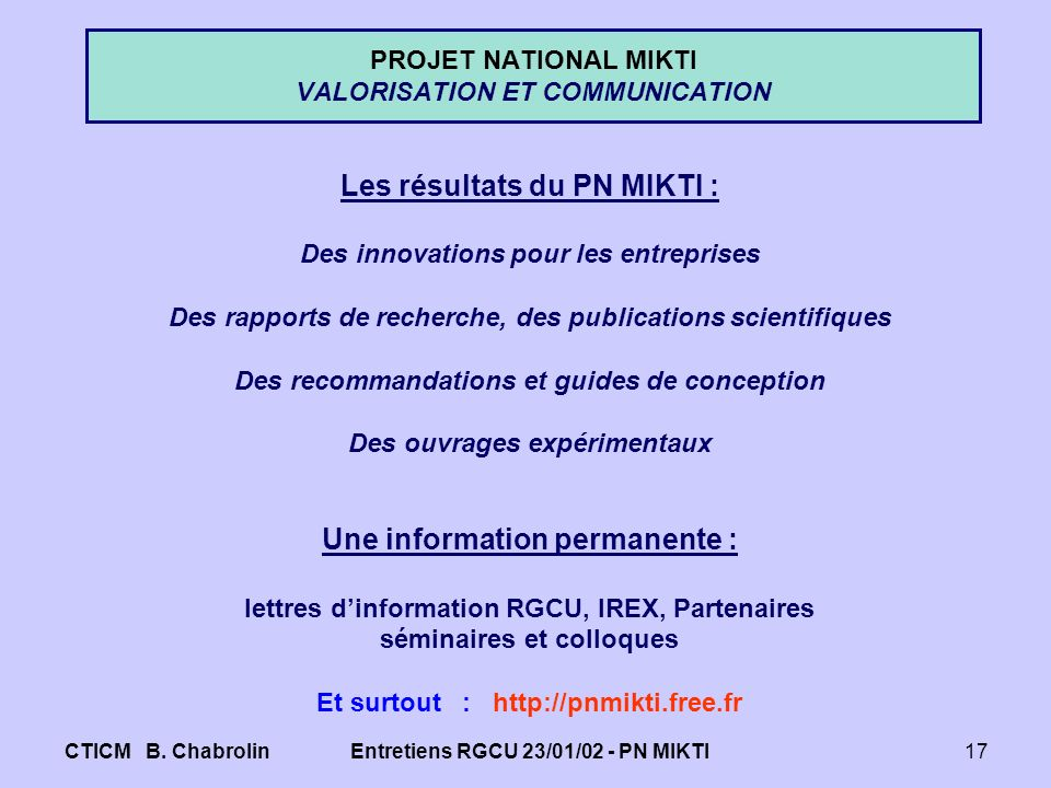 PROJET NATIONAL MIKTI VALORISATION ET COMMUNICATION