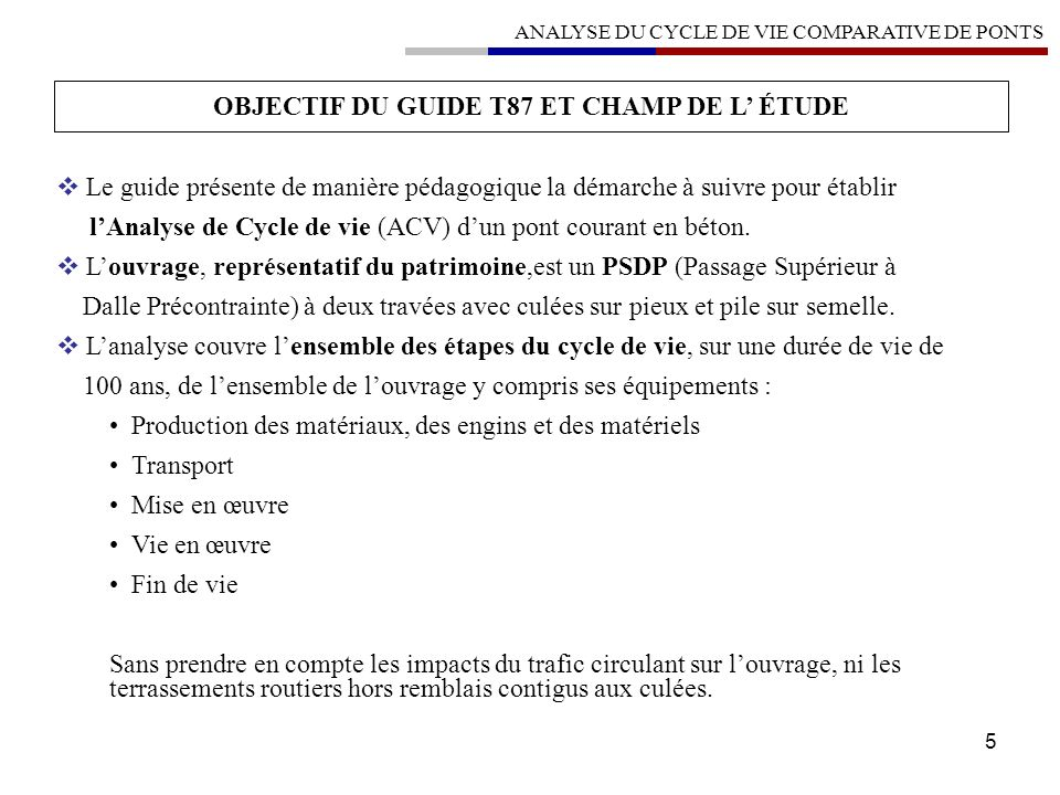 OBJECTIF DU GUIDE T87 ET CHAMP DE L' ÉTUDE
