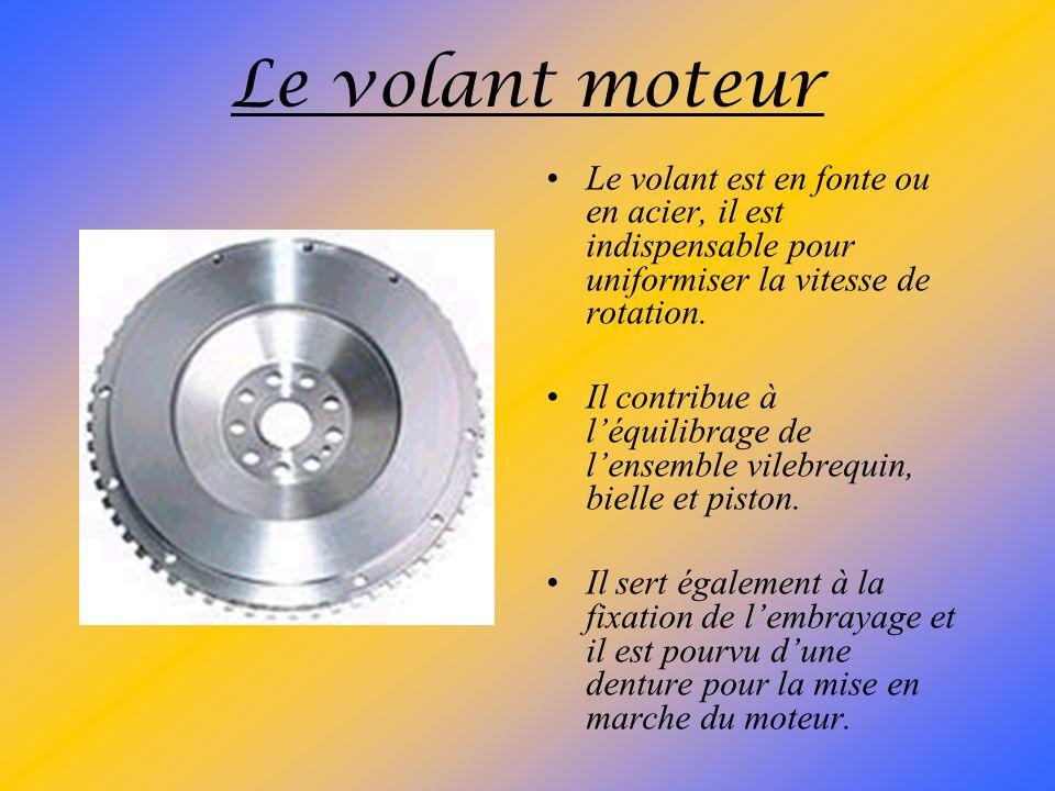 Le volant moteur Le volant est en fonte ou en acier, il est indispensable pour uniformiser la vitesse de rotation.