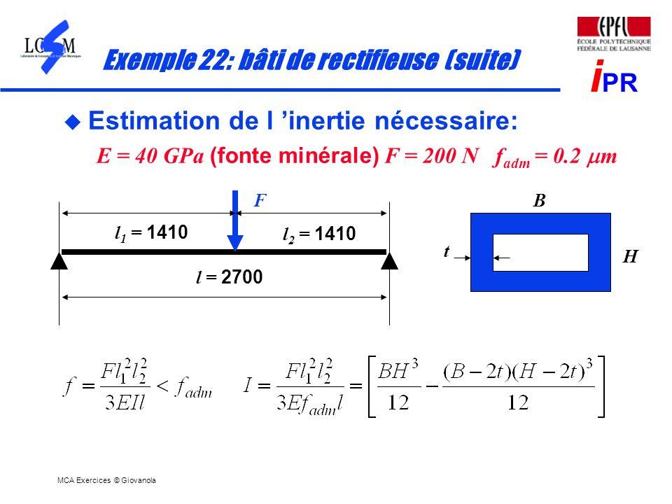 Exemple 22: bâti de rectifieuse (suite)