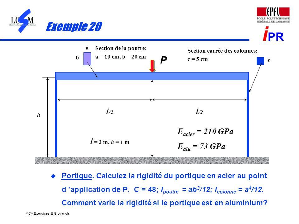 Exemple 20 P l/2 Eacier = 210 GPa Ealu = 73 GPa l = 2 m, h = 1 m
