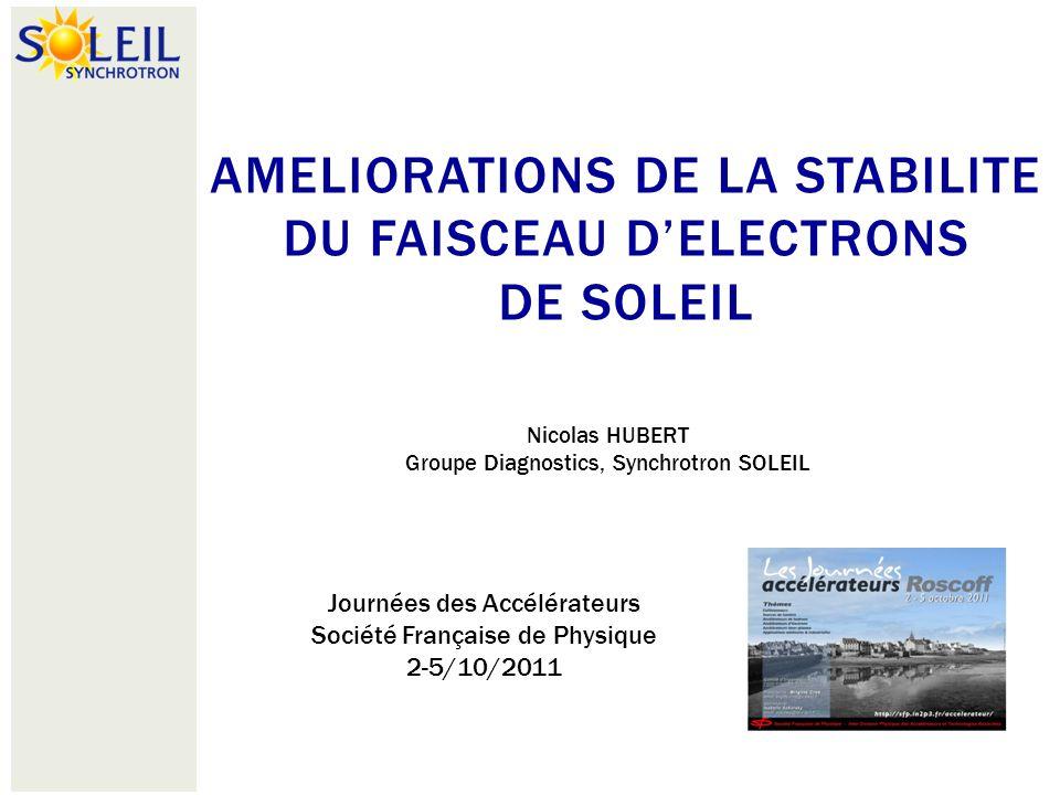 AMELIORATIONS DE LA STABILITE DU FAISCEAU D'ELECTRONS DE SOLEIL