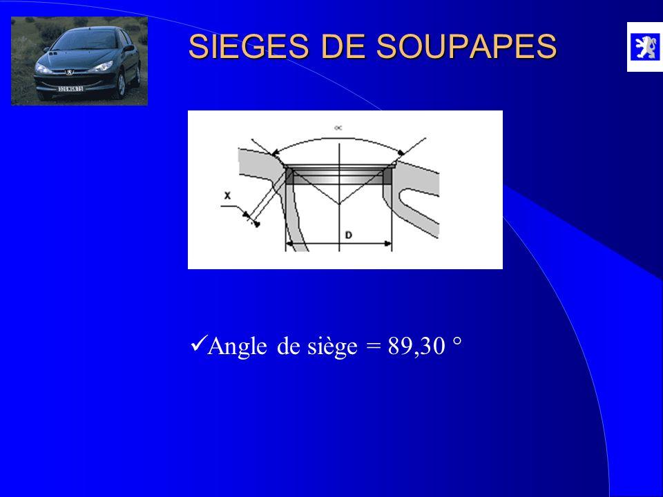 SIEGES DE SOUPAPES Angle de siège = 89,30 °