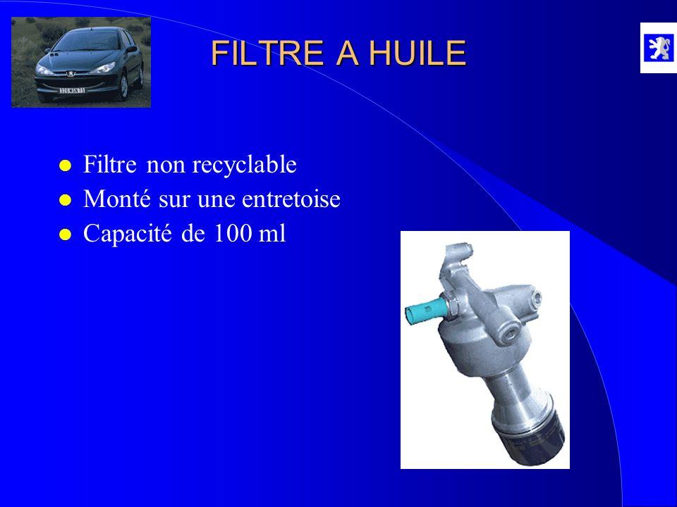 FILTRE A HUILE Filtre non recyclable Monté sur une entretoise