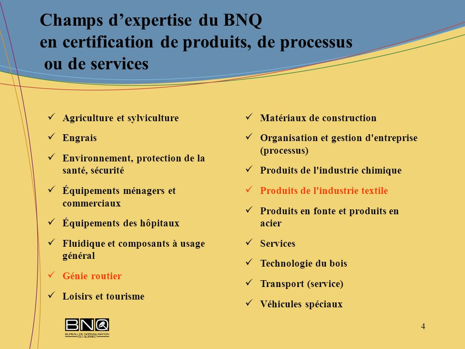 Champs d'expertise du BNQ en certification de produits, de processus ou de services