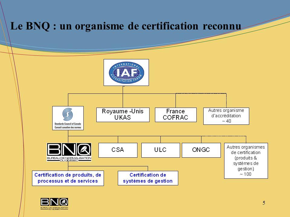 Le BNQ : un organisme de certification reconnu