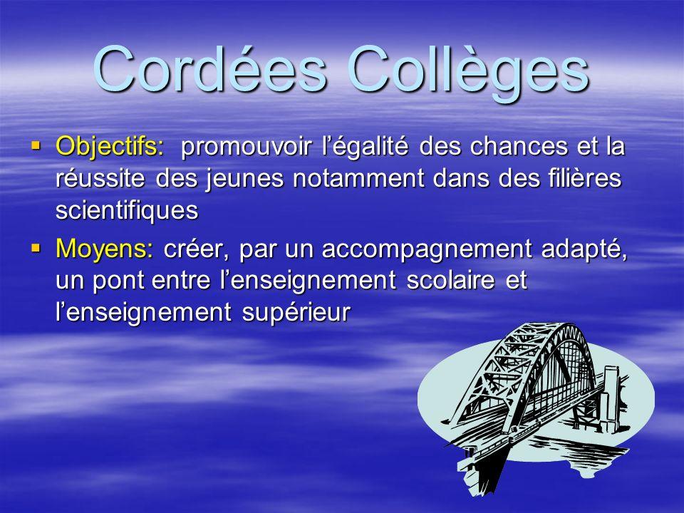 Cordées Collèges Objectifs: promouvoir l'égalité des chances et la réussite des jeunes notamment dans des filières scientifiques.
