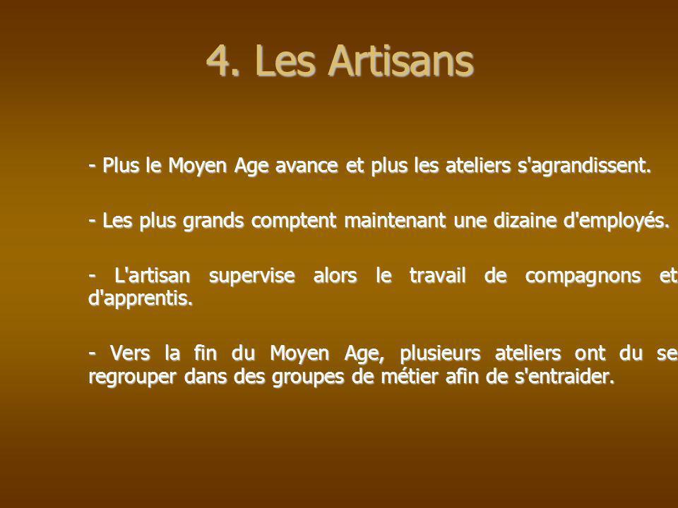 4. Les Artisans - Plus le Moyen Age avance et plus les ateliers s agrandissent. - Les plus grands comptent maintenant une dizaine d employés.