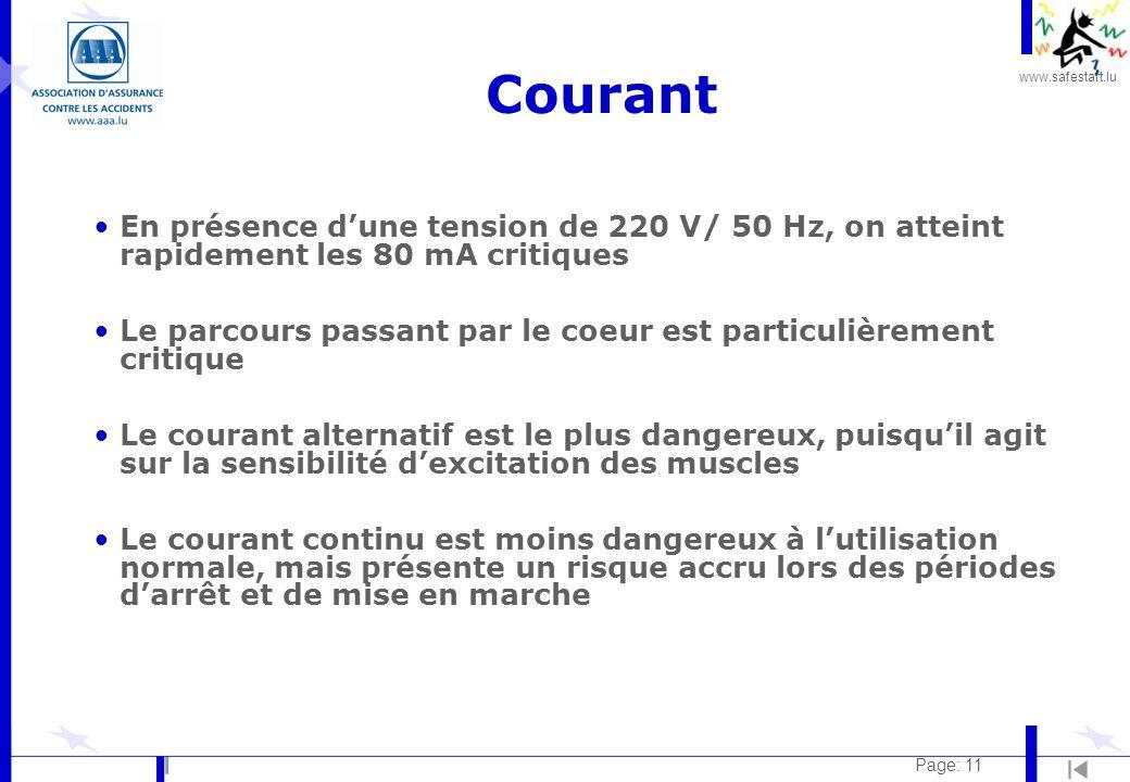 Courant En présence d'une tension de 220 V/ 50 Hz, on atteint rapidement les 80 mA critiques.