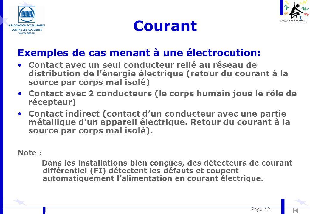 Courant Exemples de cas menant à une électrocution: