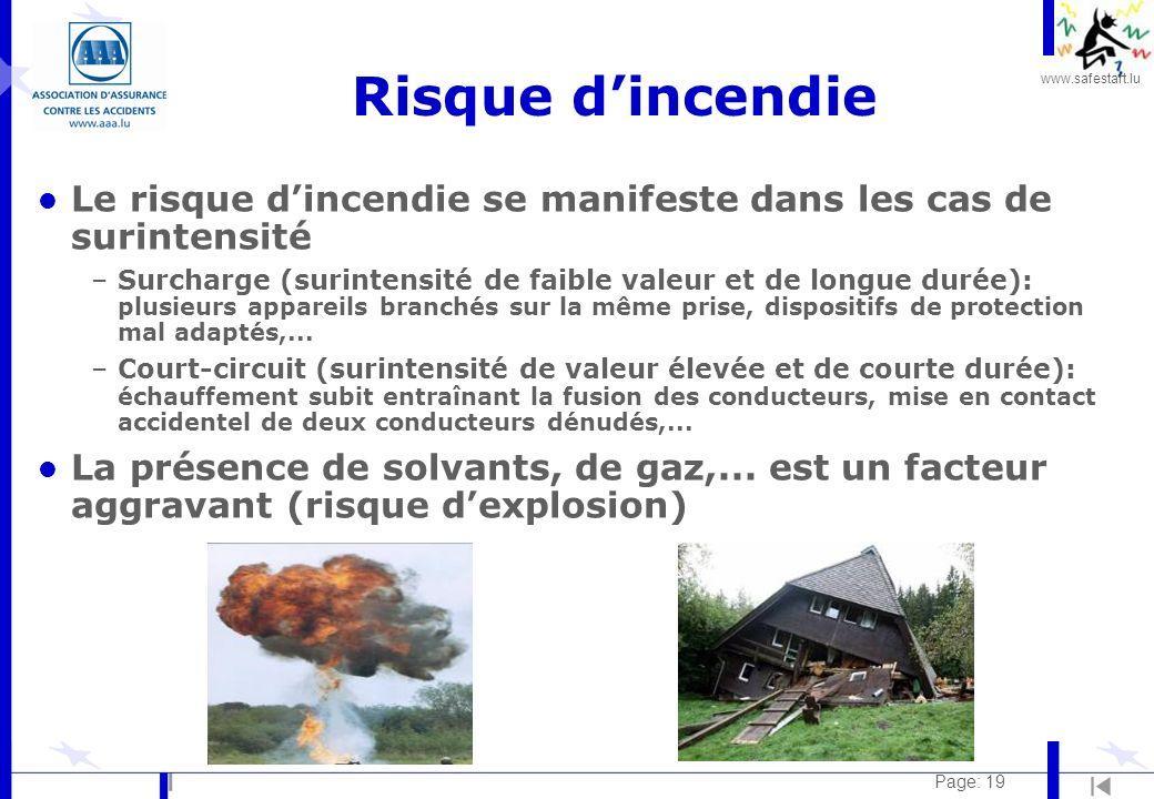 Risque d'incendie Le risque d'incendie se manifeste dans les cas de surintensité.