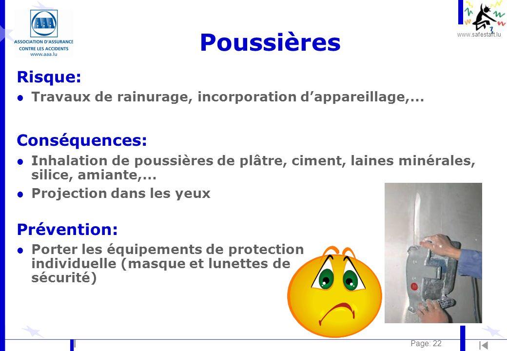 Poussières Risque: Conséquences: Prévention: