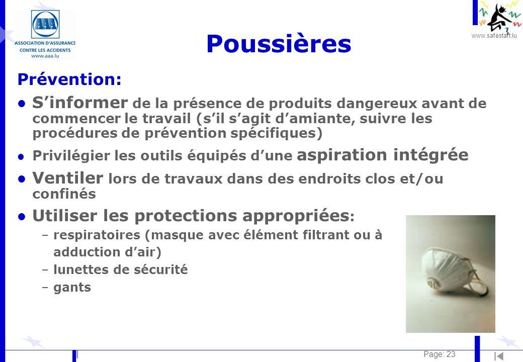 Poussières Prévention: