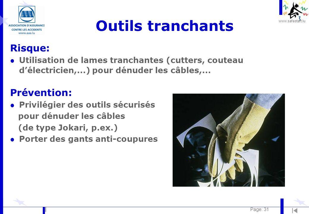 Outils tranchants Risque: Prévention: