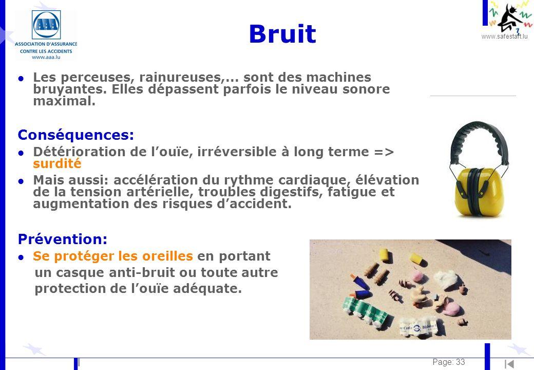 Bruit Conséquences: Prévention: