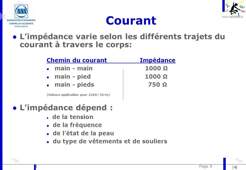 Courant L'impédance varie selon les différents trajets du courant à travers le corps: Chemin du courant Impédance.