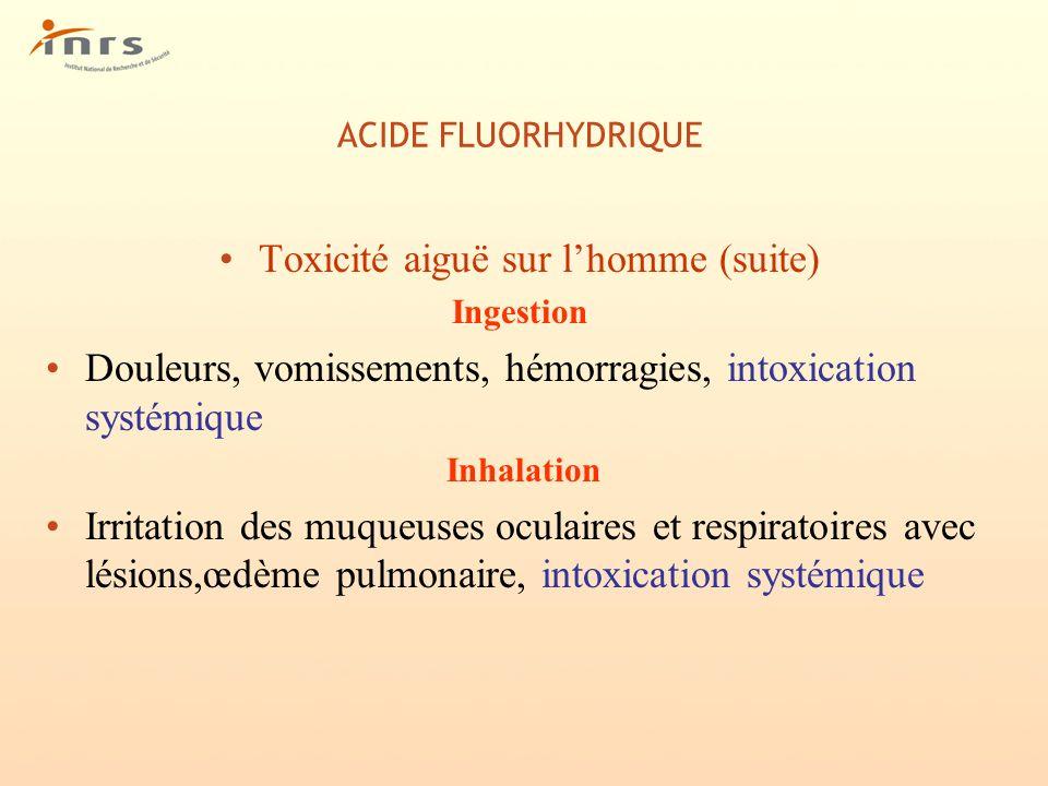 Toxicité aiguë sur l'homme (suite)