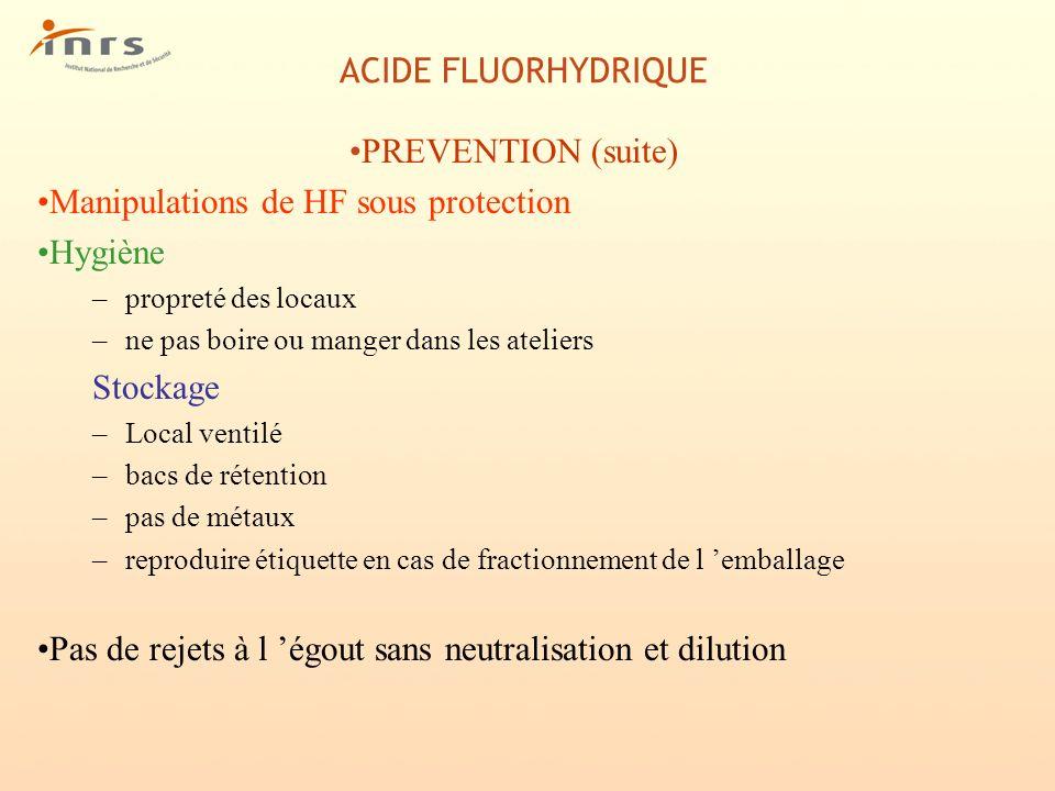 Manipulations de HF sous protection Hygiène
