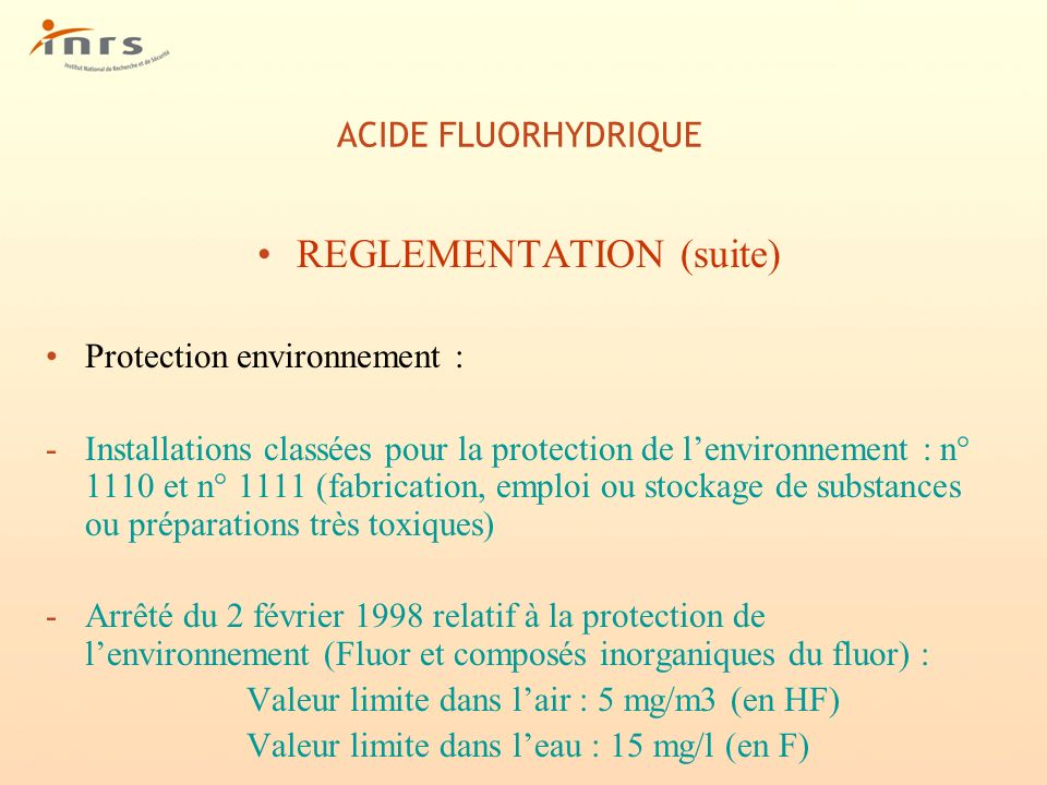 REGLEMENTATION (suite)