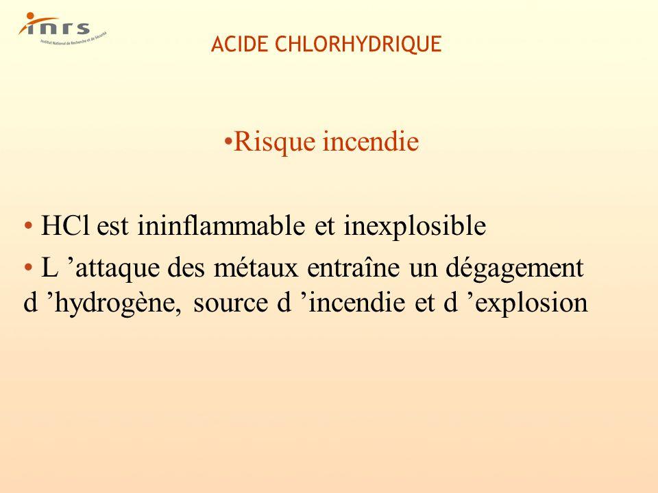 HCl est ininflammable et inexplosible