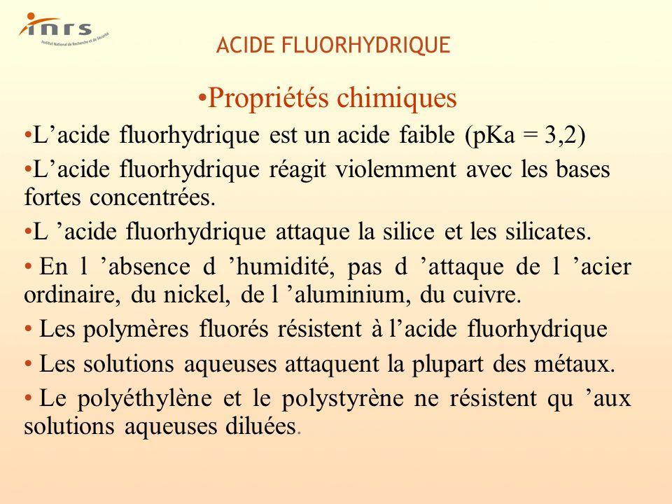ACIDE FLUORHYDRIQUE Propriétés chimiques. L'acide fluorhydrique est un acide faible (pKa = 3,2)